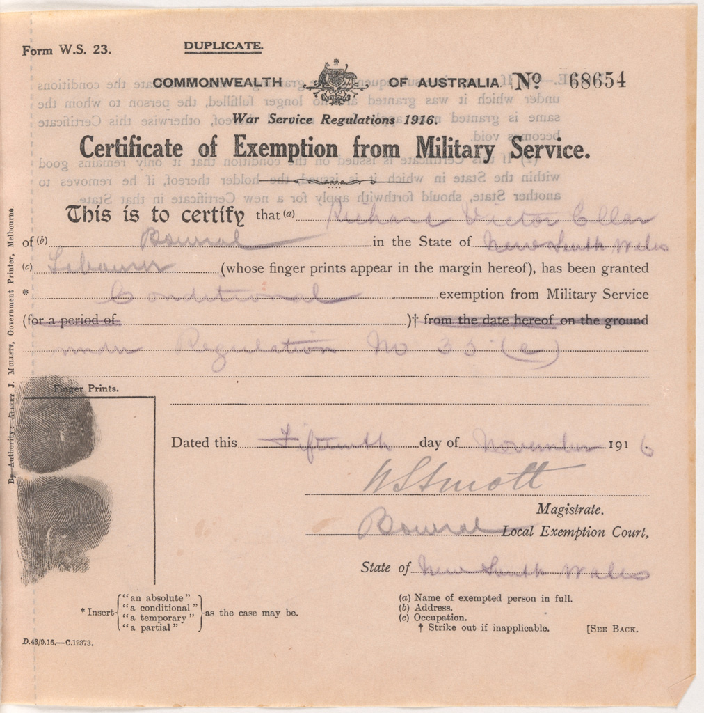 Certificates Of Exemption From Military Service New South Wales