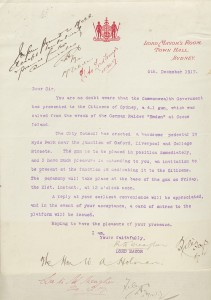 Invitation to Premier Holman to attend the unveiling of the Emden Memorial, 1917. NRS 12060 [9/4762 letter B17-5976, p.2]