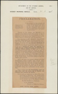 [Fig. 5] Proclamation, as printed in Sydney Morning Herald, 30 September 1916. From NRS 333 [3/3063.1 Proclamation].