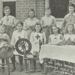 Red Cross workers at Coonamble Public School knitting and spinning, 1918. From NRS 15051.