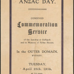 Fig 8: Anzac Day 1916 Commemoration Service program