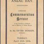 Fig 8: Anzac Day 1916 Commemoration Service program